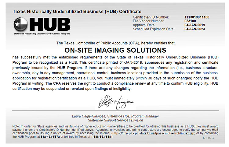 2019 State of Texas HUB Certificate