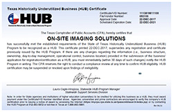 Texas Historically Underutilized Business (HUB) Certificate